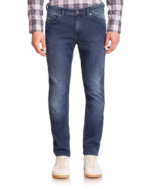 boss delaware stretch cotton slim fit jeans in blue for. Black Bedroom Furniture Sets. Home Design Ideas