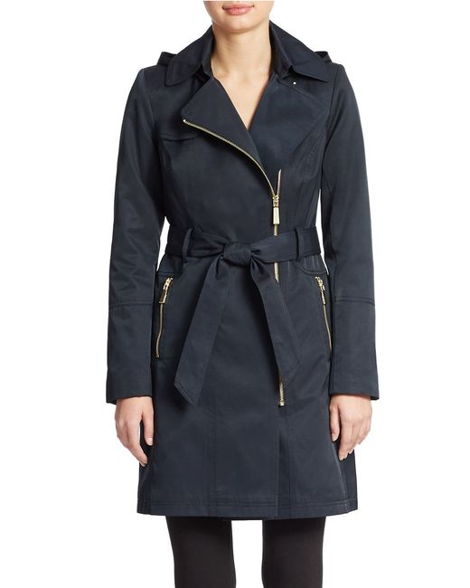 Vince Camuto | Blue Belted Trench Coat | Lyst