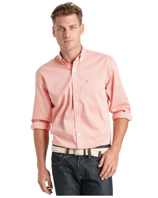 Izod big and tall gingham long sleeve shirt in pink for for Big and tall long sleeve shirts