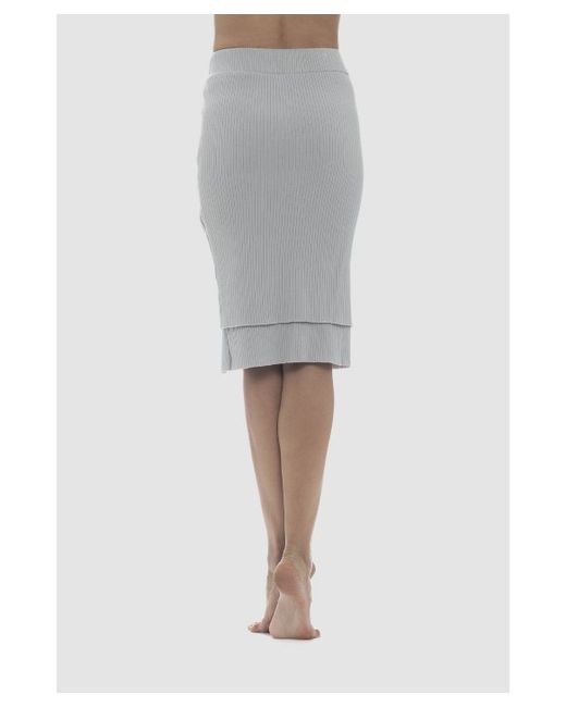 lime vine mila ribbed layer pencil skirt in gray