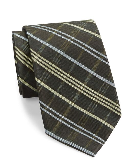 Calvin Klein | Black Plaid Silk Tie for Men | Lyst