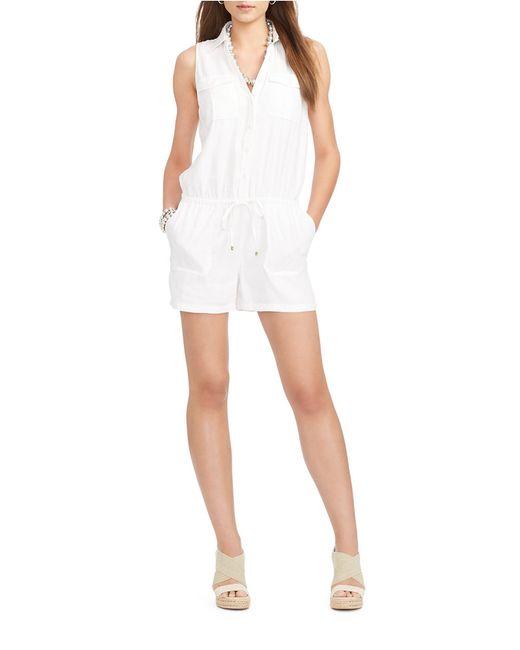 Lauren by Ralph Lauren | White Petite Linen-blend Cargo Romper | Lyst
