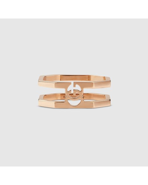 Gucci   Pink Rose Gold Running G Ring   Lyst