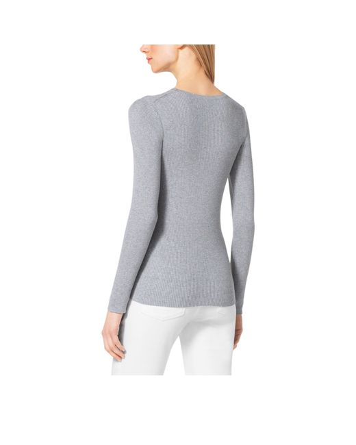 Michael Kors | Gray Ribbed Crewneck Sweater | Lyst