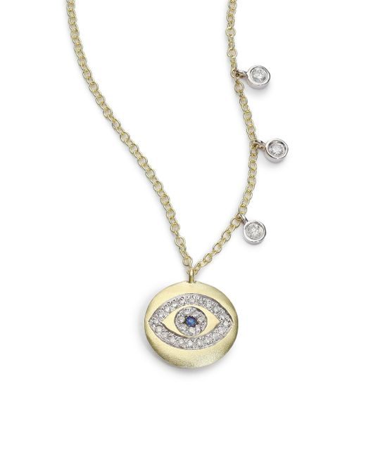 Meira T | Metallic Sapphire, Diamond & 14k Yellow Gold Evil Eye Disc Charm Necklace | Lyst