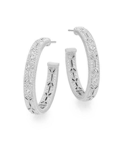 Judith Ripka   Metallic Estate White Sapphire & Sterling Silver Hoop Earrings   Lyst