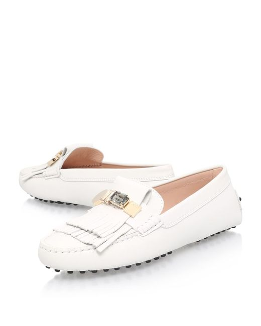 tod s heaven laccetto embossed driving shoes in white
