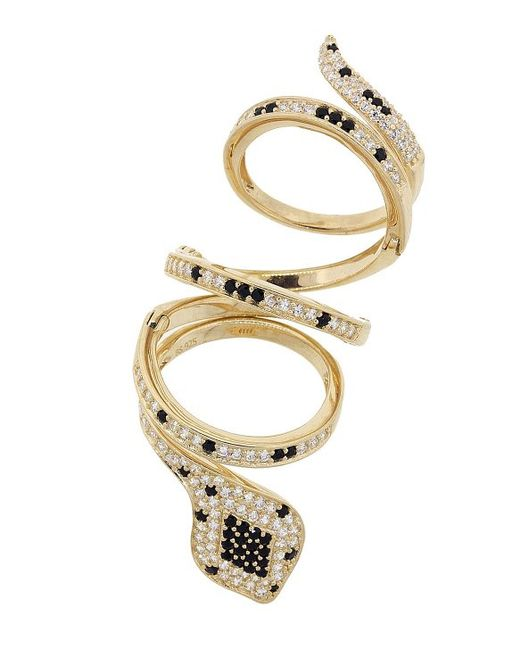 pori 18k yellow gold plated black and white cz snake