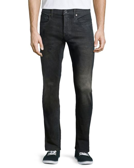 g star raw 3301 tapered slander jeans in black for men lyst. Black Bedroom Furniture Sets. Home Design Ideas