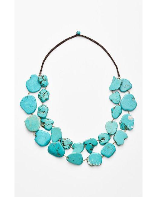 Panacea | Blue Chunky Double Row Howlite Necklace | Lyst