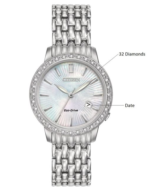 Citizen Eco Drive Mother Of Pearl Face Diamond