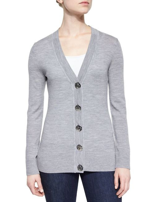 Tory Burch | Gray Simone Button-front Wool Cardigan | Lyst