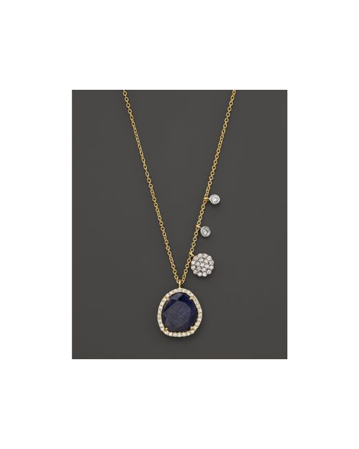 Meira T | 14k Yellow Gold Blue Sapphire Necklace With Diamonds, .25 Ct. T.w. | Lyst