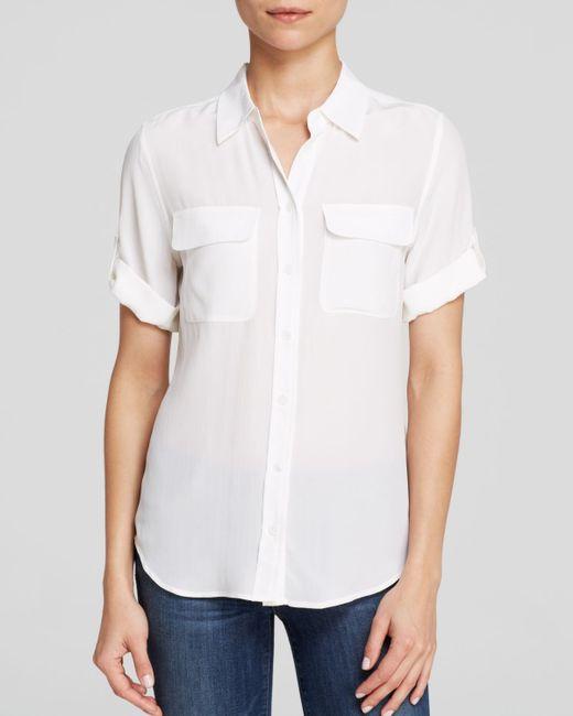 Equipment | White Blouse - Short Sleeve Slim Signature | Lyst