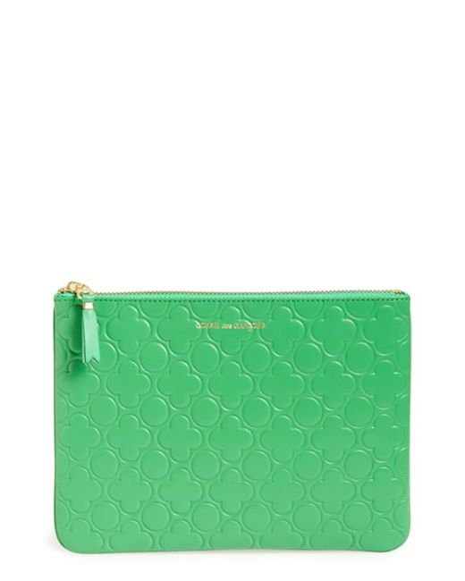 Comme des Garçons | Green 'embossed Clover' Leather Zip-up Pouch | Lyst