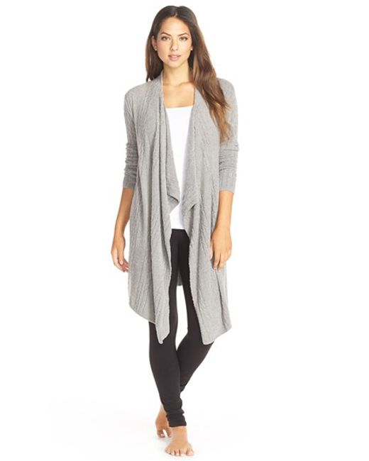 Barefoot Dreams | Gray Barefoot Dreams Cable Knit Drape Front Cardigan | Lyst