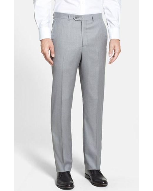 Santorelli | Gray Flat Front Wool Trousers for Men | Lyst