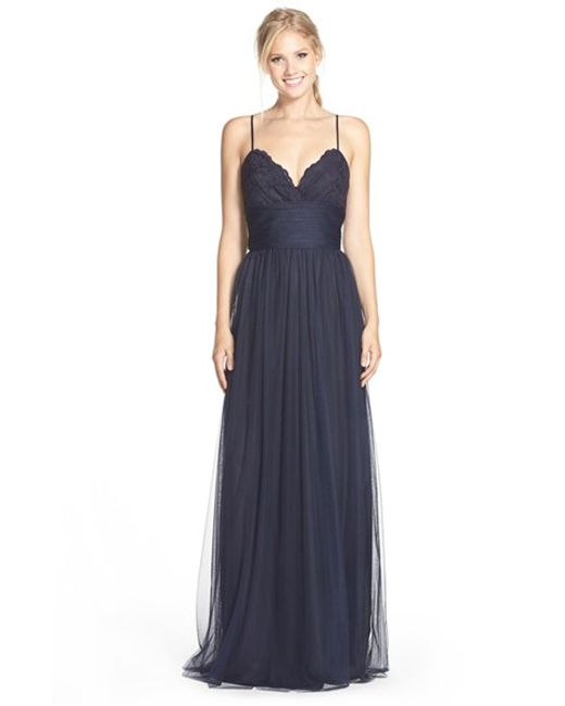 Amsale | Blue Lace & Tulle Spaghetti Strap Gown | Lyst