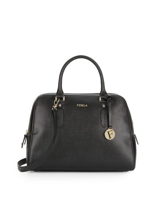 Furla | Black Margo Elena Textured Leather Satchel | Lyst