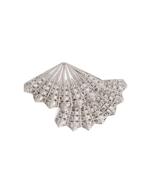 Anita Ko | 18kt White Gold Double Fan Earring With Diamonds | Lyst