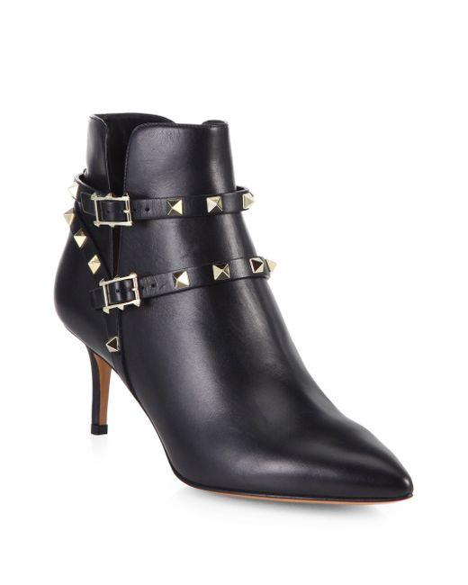 Valentino | Black 'rockstud' Leather Boots | Lyst