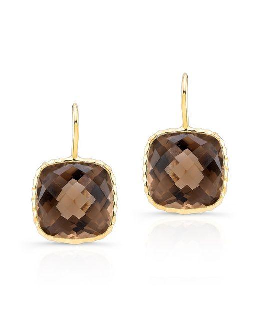Anne Sisteron | 14kt Yellow Gold Smokey Topaz Cushion Cut Earrings | Lyst