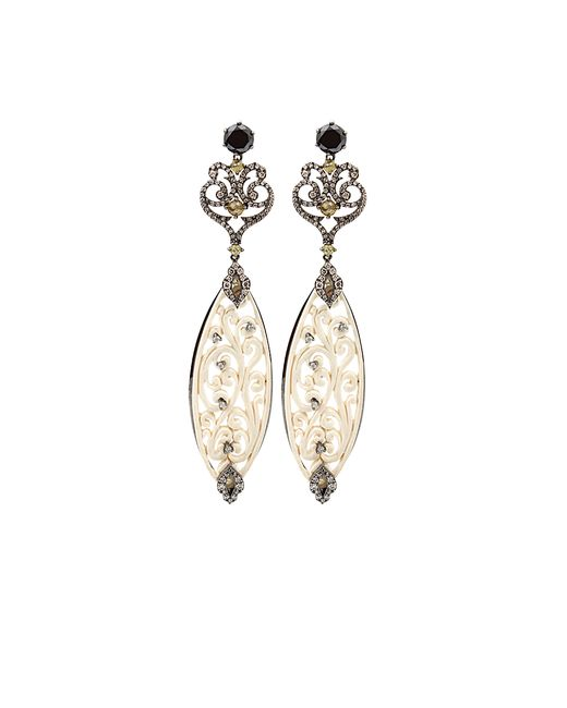 Bochic | White Carved Mammoth Drop Earrings With Diamonds | Lyst