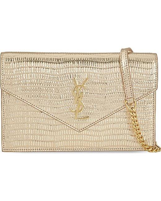... Monogram Saint Laurent Envelope Chain Wallet In Pale Gold Lizard  Embossed Metallic Leather ... e7c2ec022df25