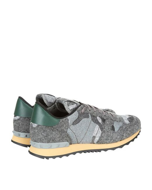 Valentino Camouflage Felt Trainers In Gray For Men Save