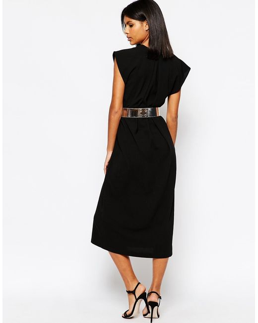 asos asymmetric contemporary midi dress with belt in black