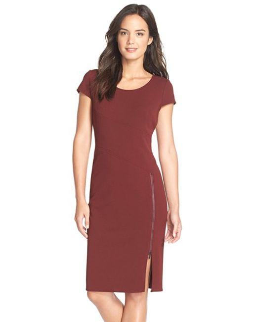 Julia Jordan | Brown Zip Hem Crepe Sheath Dress | Lyst