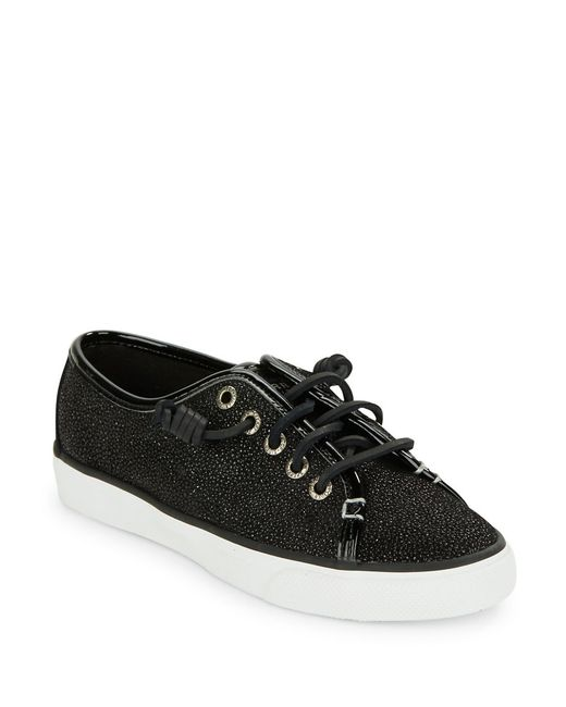 Sperry Top-Sider | Black Seacoast Textured Leather Sneakers | Lyst