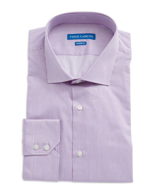 Vince camuto modern fit striped dress shirt in purple for men lyst