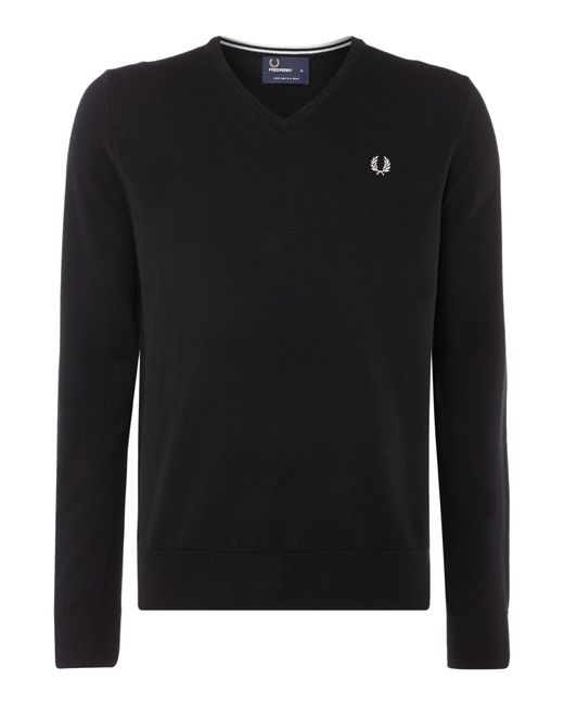Fred Perry | Black Classic V Neck Pull Over Sweater for Men | Lyst