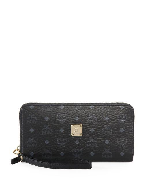 MCM | Black Visetos Large Zip Wallet | Lyst