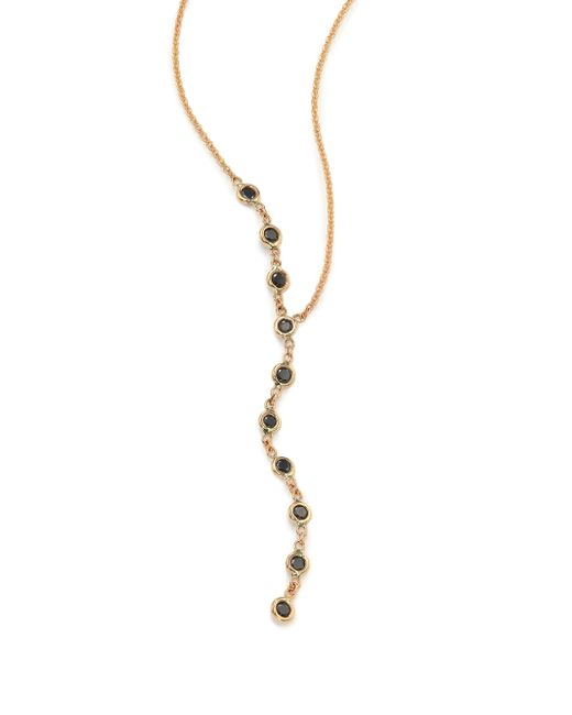 Jacquie Aiche | Metallic Black Diamond & 14k Yellow Gold Asymmetrical Y Necklace | Lyst