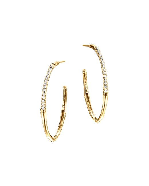 John Hardy | Metallic Bamboo 18k Yellow Gold Diamond Pave Small Hoop Earrings | Lyst