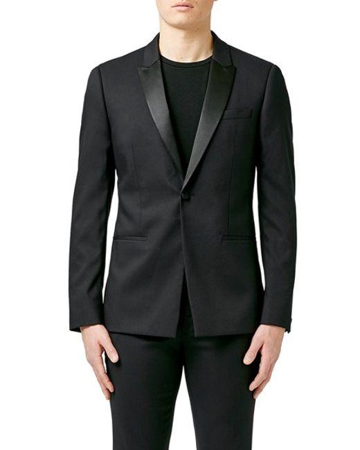 Topman skinny fit black tuxedo jacket in black for men lyst for Dress shirts for athletic build