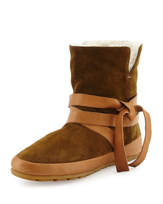 Isabel Marant Nygel Shearling Fur Lined Wrap Around Bootie