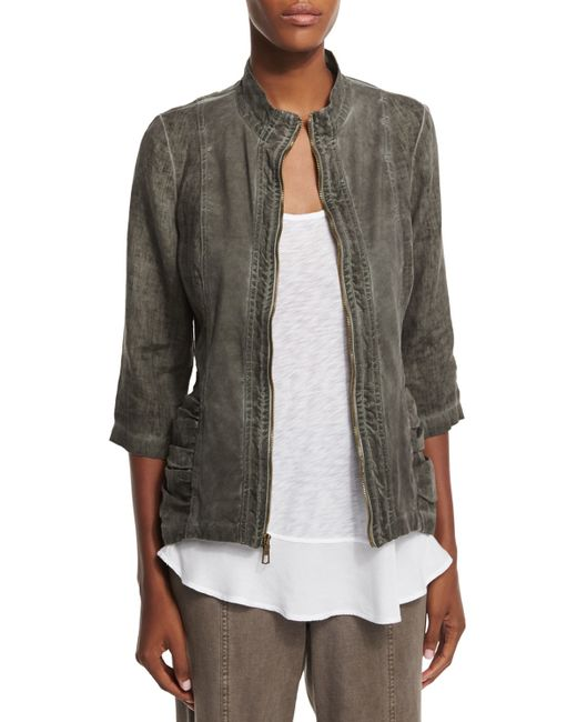 Xcvi Bailey Washed-Linen Jacket in Gray (OIL WASHED RURAL ...