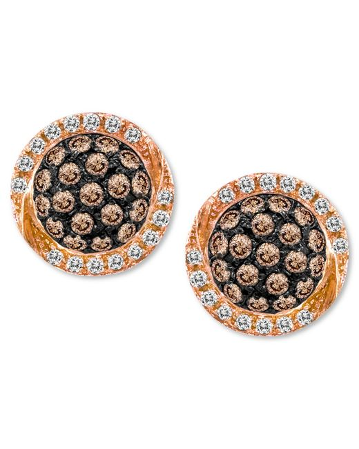 Le Vian | Brown Chocolate By Petite Chocolate Diamond (3/8 Ct. T.w.) And White Diamond (1/10 Ct. T.w.) Pave Oval Stud Earrings In 14k Rose Gold | Lyst