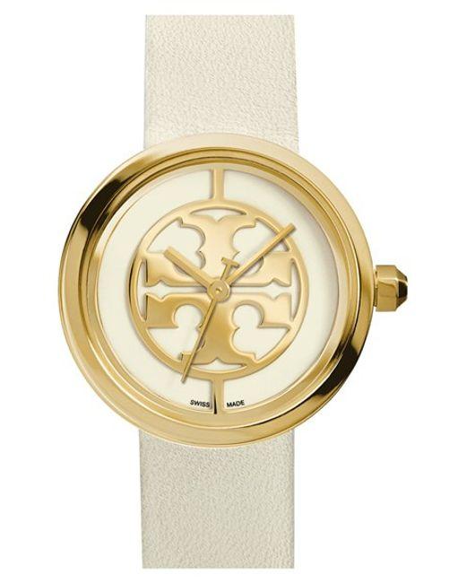 Tory Burch   Metallic 'reva' Logo Dial Leather Strap Watch   Lyst