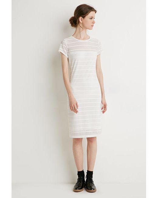 Forever 21 | White Shadow Stripe Cap-sleeve Dress | Lyst