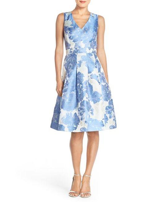 Eliza J Floral Jacquard Fit Amp Flare Dress In Blue Blue