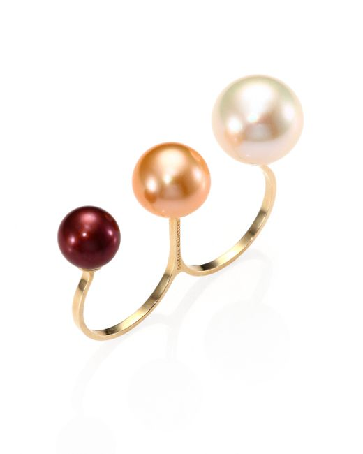 Gold And Multi Freshwater Pearl Ring