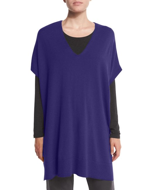 Eileen Fisher | Blue Short-sleeve Merino Jersey Tunic | Lyst