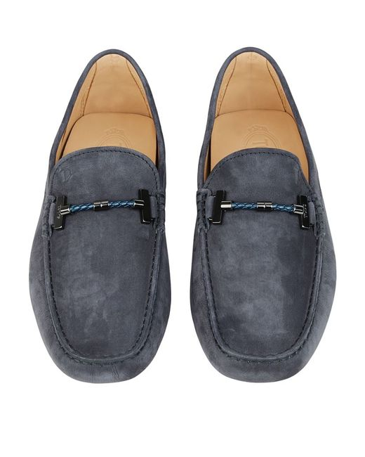 "Tod's | Blue ""spider"" Embossed Leather Driving Shoes for Men 
