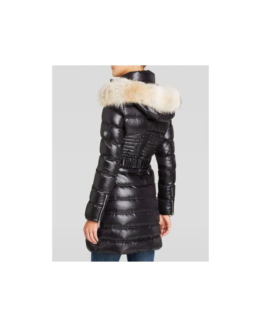 Dawn Levy | Black Coat - Alicia Quilted Belted With Coyote Fur Trim Hood | Lyst