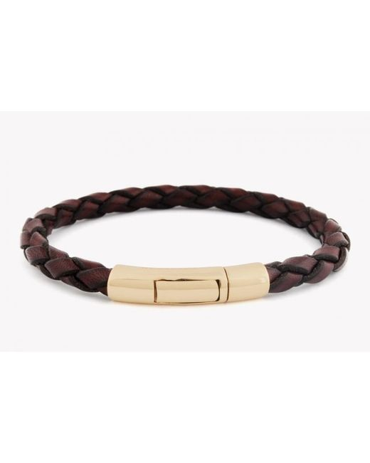 Tateossian | Single Wrap Scoubidou Brown Leather Bracelet With 18k Yellow Gold Clasp for Men | Lyst