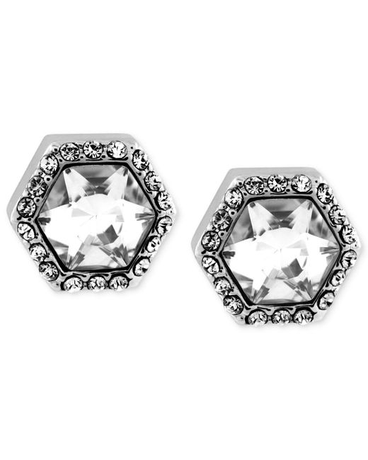 Vince Camuto | Metallic Silver-tone Crystal Hexagon Stud Earrings | Lyst